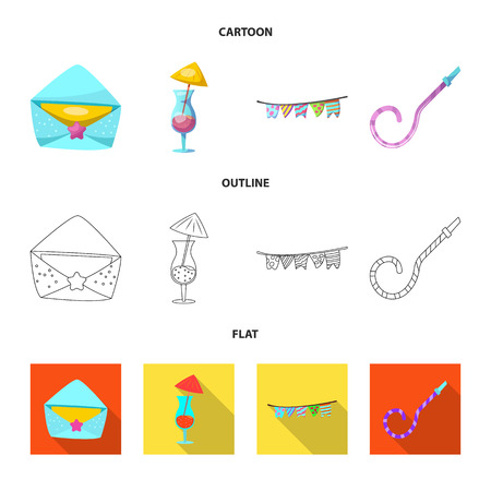 Vector illustration of party and birthday icon. Collection of party and celebration stock symbol for web.