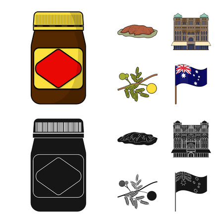 The palace of Queen Victoria, Mount Uluru, a flower of a mimosa, a national flag.Australia set collection icons in cartoon,black style bitmap symbol stock illustration web.
