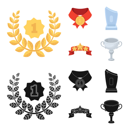 Winner for the first place in the competition, a crystal prize, a ribbon with the stars, a medal on the red ribbon.Awards and trophies set collection icons in cartoon,black style bitmap symbol stock illustration web. Фото со стока
