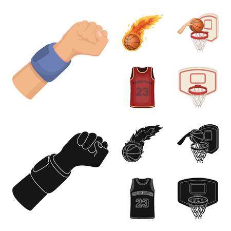 Basketball and attributes cartoon,black icons in set collection for design.Basketball player and equipment bitmap symbol stock web illustration.