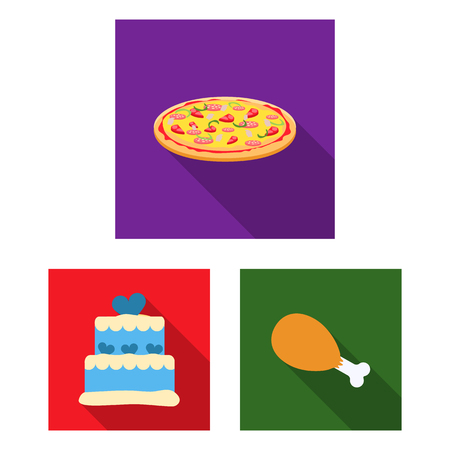 Fast food flat icons in set collection for design.Food from semi-finished products bitmap symbol stock web illustration. Stock Photo