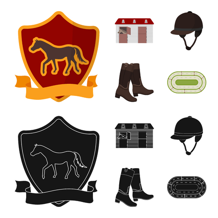 Boots, grass, stadium, track, rest .Hippodrome and horse set collection icons in cartoon,black style bitmap symbol stock illustration web. Banco de Imagens