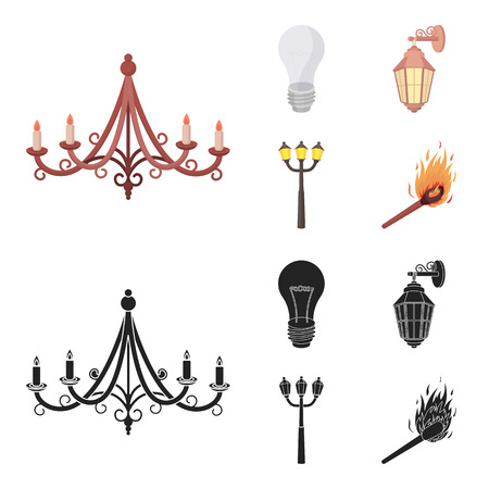 LED light, street lamp, match.Light source set collection icons in cartoon,black style bitmap symbol stock illustration web. Archivio Fotografico - 111609585