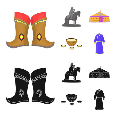 Military boots, a monument to the rider, a national tent, a milk drink. Mongolia set collection icons in cartoon,black style bitmap symbol stock illustration web. Фото со стока