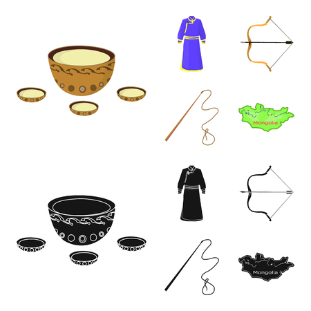 .mongol dressing gown, battle bow, theria on the map, Urga, Khlyst. Mongolia set collection icons in cartoon,black style bitmap symbol stock illustration web. Фото со стока
