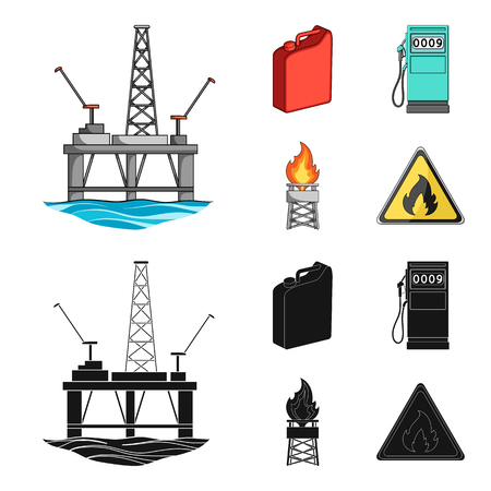 Canister for gasoline, gas station, tower, warning sign. Oil set collection icons in cartoon,black style bitmap symbol stock illustration web. Banco de Imagens