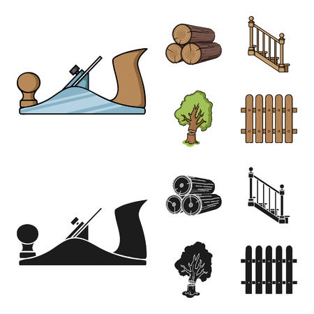 Logs in a stack, plane, tree, ladder with handrails. Sawmill and timber set collection icons in cartoon,black style bitmap symbol stock illustration web.