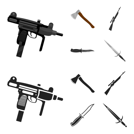 Ax, automatic, sniper rifle, combat knife. Weapons set collection icons in cartoon,black style bitmap symbol stock illustration web.