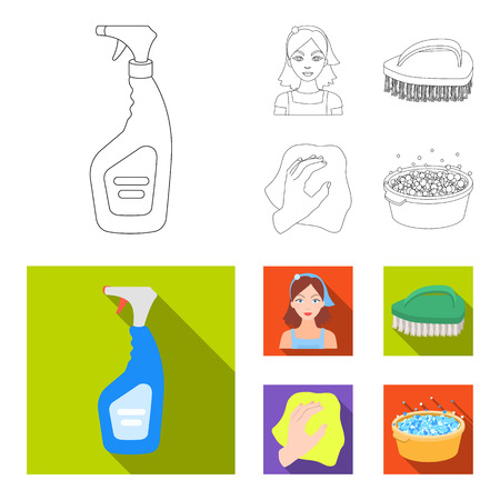 A cleaning woman, a housewife in an apron, a green brush, a hand with a rag, a blue wash hand basin with foam. Cleaning set collection icons in outline,flat style bitmap symbol stock illustration web. Stock Photo