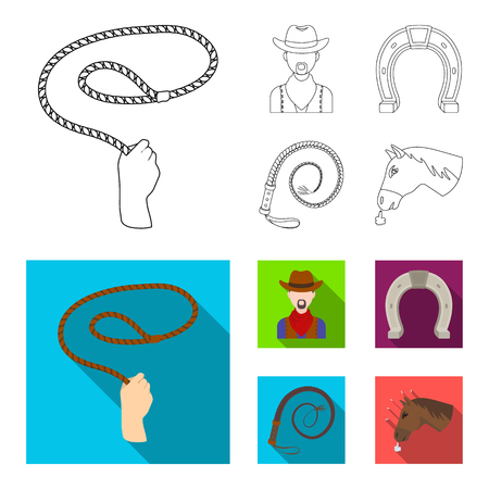 Hand lasso, cowboy, horseshoe, whip. Rodeo set collection icons in outline,flat style bitmap symbol stock illustration web. Stock Photo