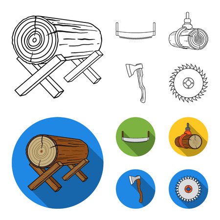 Log on supports, two-hand saw, ax, raising logs. Sawmill and timber set collection icons in outline,flat style bitmap symbol stock illustration web. Reklamní fotografie