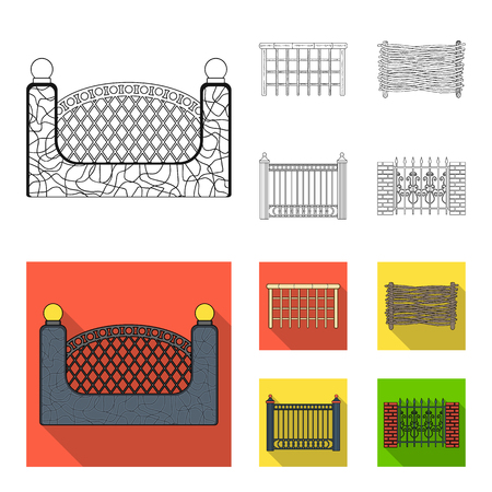 A fence of metal and bricks,wooden palisade. A different fence set collection icons in outline,flat style bitmap symbol stock illustration web.