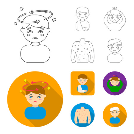 A boy with a headache, with stars, a man with a broken hand in a cast, a sick man grabbed his head with his hands, a man torso with ulcers and a rash. Sick set collection icons in outline,flat style bitmap symbol stock illustration web.