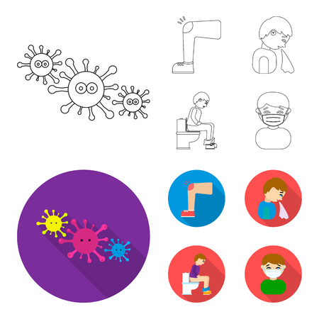 A foot with a bruise in the knee, sneezing sick, a man sitting on the toilet, a man in a medical mask. Sick set collection icons in outline,flat style bitmap symbol stock illustration web. Stock Photo