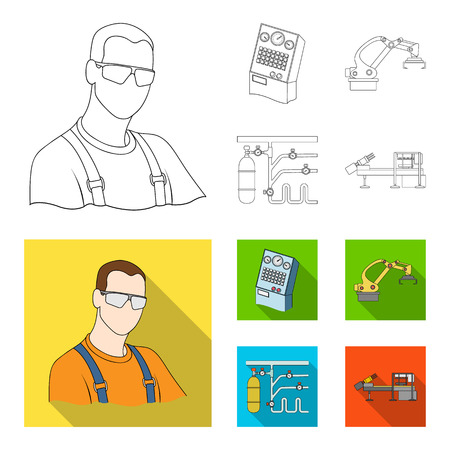 Modern equipment and other web icon in outline,flat style.Machine tools and equipment factory icons in set collection. Stock Photo