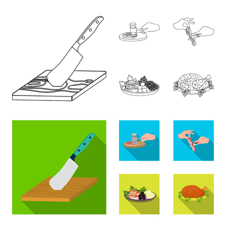 Cutlass on a cutting board, hammer for chops, cooking bacon, eating fish and vegetables. Eating and cooking set collection icons in outline,flat style bitmap symbol stock illustration web. Banque d'images - 111609922