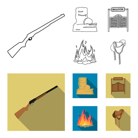 Winchester, saloon, rock, fire.Wild west set collection icons in outline,flat style bitmap symbol stock illustration web. Imagens
