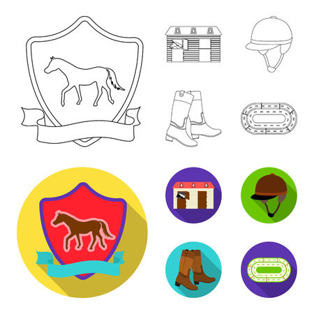 Boots, grass, stadium, track, rest .Hippodrome and horse set collection icons in outline,flat style bitmap symbol stock illustration web. Banco de Imagens