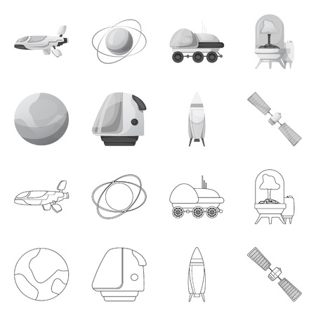 Vector design of mars and space sign. Collection of mars and planet stock symbol for web.