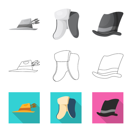 Isolated object of headgear and cap icon. Collection of headgear and headwear stock symbol for web. Illustration