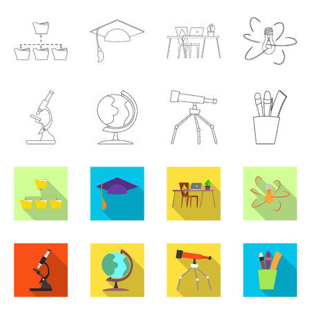 Isolated object of education and learning logo. Set of education and school vector icon for stock. Vectores