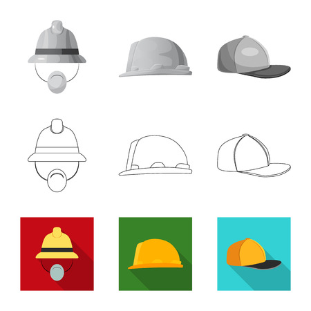 Isolated object of headgear and cap icon. Collection of headgear and headwear stock symbol for web. Ilustrace