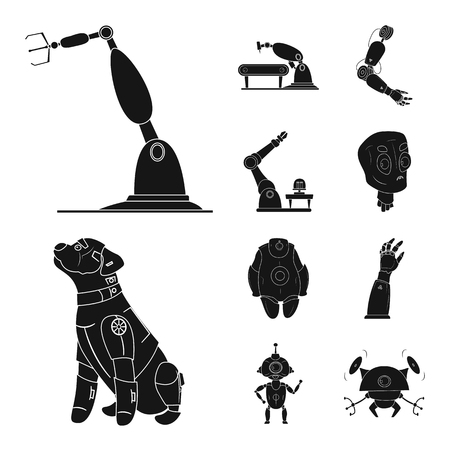 Isolated object of robot and factory icon. Set of robot and space stock vector illustration.