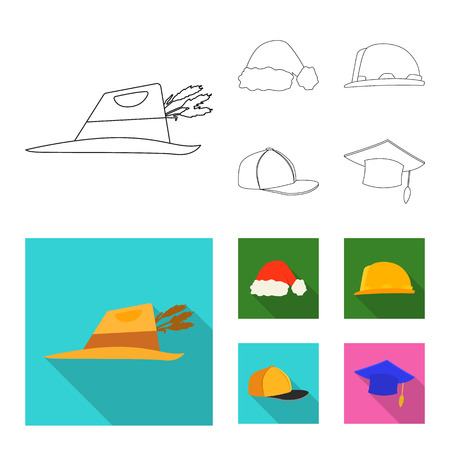 Isolated object of headgear and cap symbol. Set of headgear and headwear stock symbol for web. Illustration