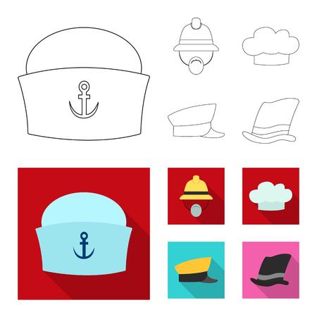 Vector design of headgear and cap logo. Set of headgear and headwear vector icon for stock.