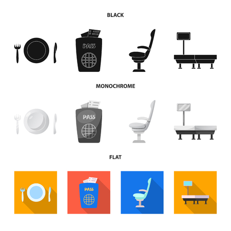 Isolated object of airport and airplane icon. Set of airport and plane vector icon for stock. Ilustração