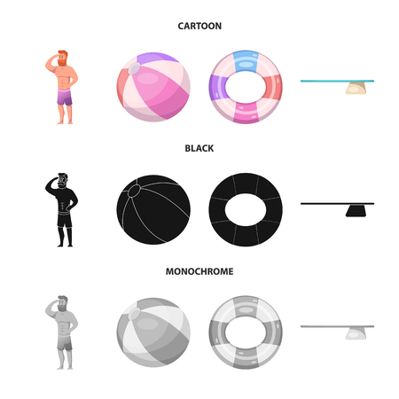 Vector illustration of pool and swimming logo. Collection of pool and activity vector icon for stock. Illustration