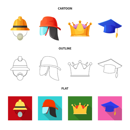 Vector design of headgear and cap logo. Collection of headgear and headwear stock vector illustration.