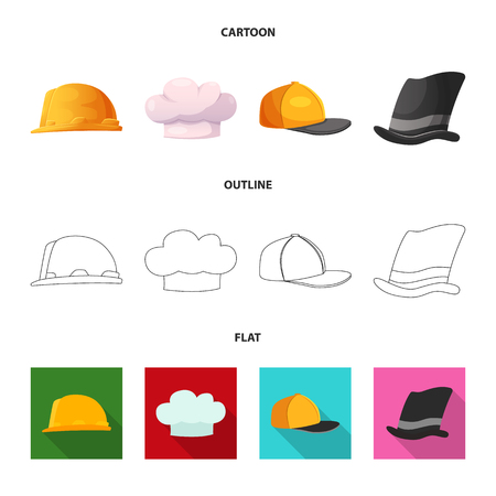 Vector design of headgear and cap icon. Set of headgear and headwear vector icon for stock. Illustration