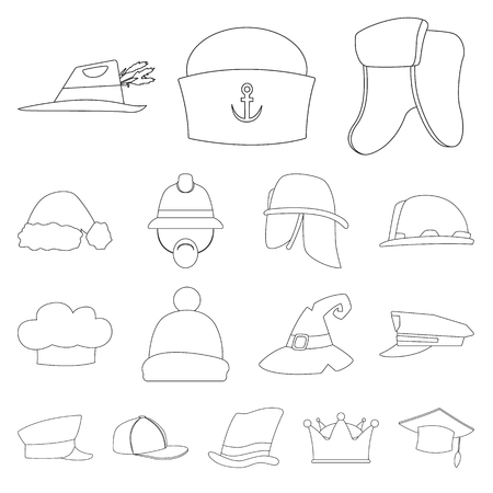 Isolated object of headgear and cap icon. Set of headgear and headwear stock symbol for web. Illustration