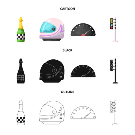 Vector illustration of car and rally sign. Collection of car and race stock symbol for web. Illustration