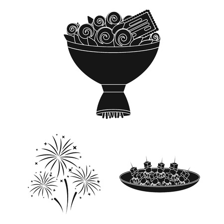 Event Organisation black icons in set collection for design.Celebration and Attributes bitmap symbol stock  illustration.