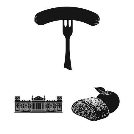 Country Germany black icons in set collection for design. Germany and landmark bitmap symbol stock  illustration.