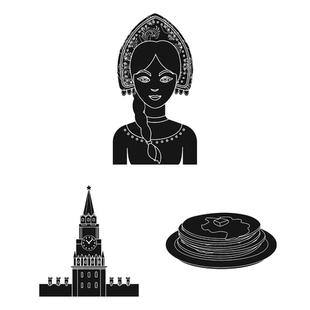 Country Russia, travel black icons in set collection for design. Attractions and features bitmap symbol stock  illustration.