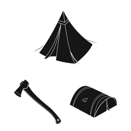 Different kinds of tents black icons in set collection for design. Temporary shelter and housing bitmap symbol stock  illustration.