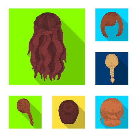 Female hairstyle flat icons in set collection for design. Stylish haircut bitmap symbol stock  illustration.