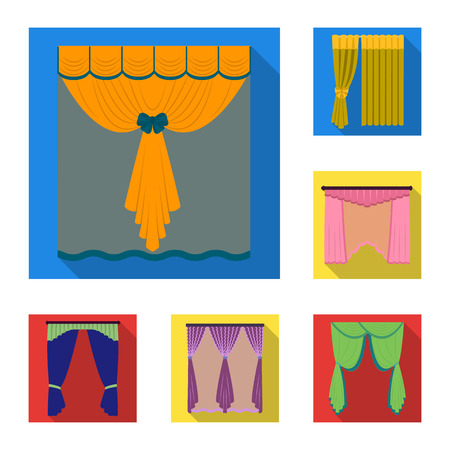 Different kinds of curtains flat icons in set collection for design. Curtains and lambrequins bitmap symbol stock illustration.