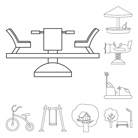 Playground, entertainment outline icons in set collection for design. Attraction and equipment bitmap symbol stock  illustration.