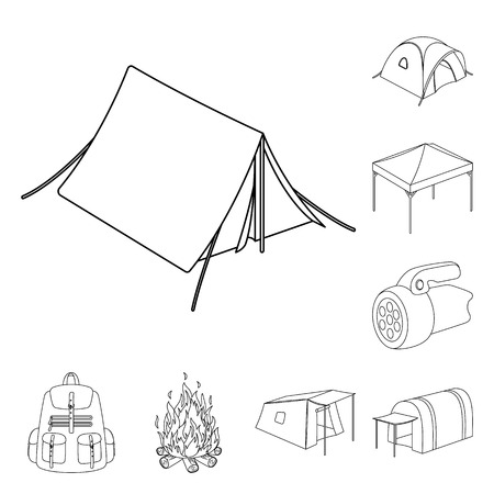 Different kinds of tents outline icons in set collection for design. Temporary shelter and housing bitmap symbol stock  illustration.