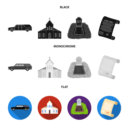 Black  to transport the grave of the deceased, a church for a funeral ceremony, a grave with a tombstone, a death certificate. Funeral ceremony set collection icons in black, flat, monochrome style bitmap symbol stock illustration . Stock Photo