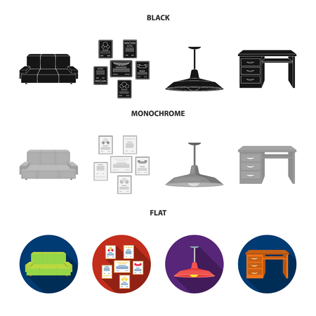 Comfortable sofa, letters and diplomas within the framework, an office ceiling lamp, a desk with drawers. Office Furniture set collection icons in black, flat, monochrome style bitmap symbol stock illustration . Фото со стока