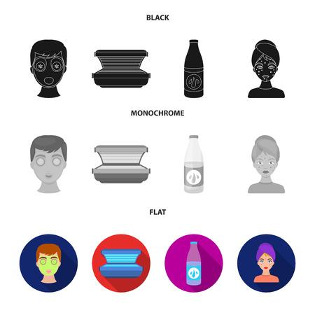 Face mask, solarium, bottle ts lasenom, pimples on face. Skin Care set collection icons in black, flat, monochrome style bitmap symbol stock illustration .