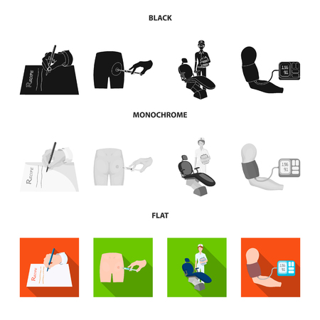 Intramuscular injection, prescription, Dentist, blood pressure measurement. Medicineset collection icons in black, flat, monochrome style bitmap symbol stock illustration web. Фото со стока