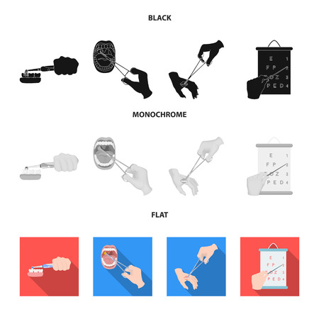 Dental care, wound treatment and other web icon in black, flat, monochrome style.oral treatment, eyesight testing icons in set collection.