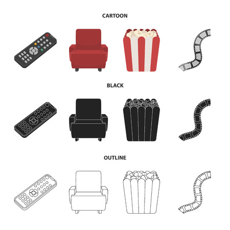 Control panel, an armchair for viewing, popcorn.Films and movies set collection icons in cartoon,black,outline style bitmap symbol stock illustration web. Stockfoto