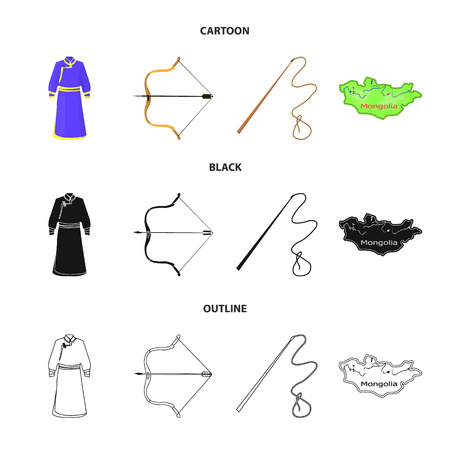 .mongol dressing gown, battle bow, theria on the map, Urga, Khlyst. Mongolia set collection icons in cartoon,black,outline style bitmap symbol stock illustration web. Stok Fotoğraf